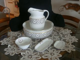 Antique French Wash Bowl and Pitcher Rose Garland 5 Piece Set