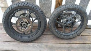 88 07 Kawasaki Ninja 250 Front Rear Rim Wheel Set Used Supermoto klx