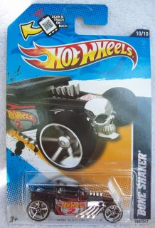 2012 Hot Wheels Rare BLACK Bone Shaker Racing 180 247 Wal Mart