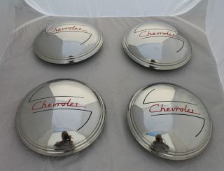1937 Chevy 1938 Chevrolet 1 2 Ton Truck Hubcaps 4pc Stainless Steel