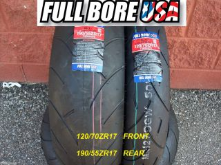 Two Tire Set 120 70ZR17 190 55ZR17 Full Bore USA Sport Bike Motorcycle