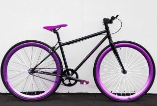 Bike Fixie Bike Road Bicycle 48cm w Deep 45mm Rims Grape Soda