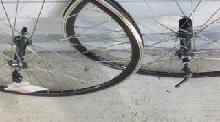 BLACK 36 SPOKE SHIMANO 5700 MACH 1 VERSUS RIMS ROAD BIKE WHEEL SET NEW