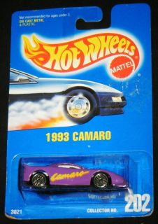 1993 PURPLE CAMARO HOT WHEELS #202 Die Cast Metal Collectable Car