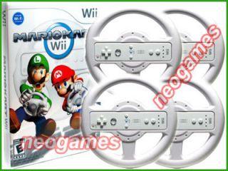Mario Kart Wii Bundle Game CD 4 Pro Racing Wheels Fast Priority Mail