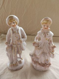 Pair of Vntg 6 inch Pink Porcelain Victorian Figures Man Woman Japan