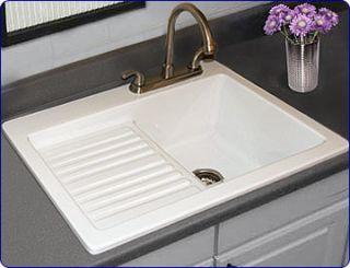 CorStone Edgewood Self Rim Laundry Sink White 2 Faucet Holes