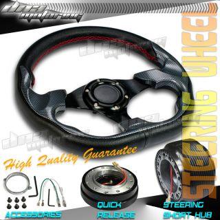 3pc Combo Quick Release Hub Carbon Look 320mm Racing Steering Wheel