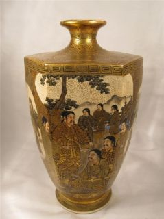 SUPERB LATE 19TH C ANTIQUE JAPANESE SATSUMA HEXAGONAL VASE KINKOZAN