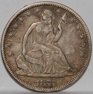 1877 Seated Half Extra Fine Rim Nick on Reverse