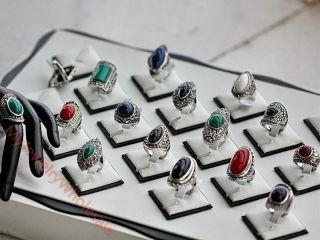 Wholesale Fashion Jewelry 10pcs Vintage Style Stone Marcasite Silver