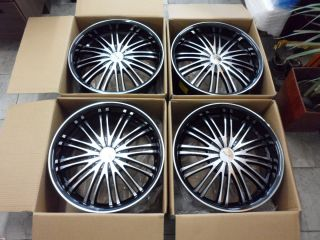 WHEELS 5X112 5X114 3 BLACK MACHINE RIMS ACURA HONDA TOYOTA VW AUDI