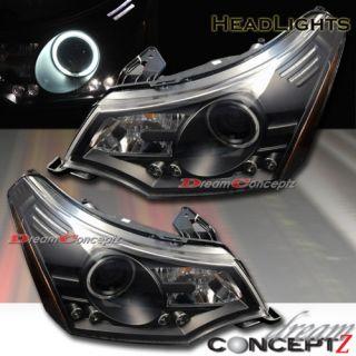 Focus Projector Headlights CCFL Halo Rim Angel Eye Black Style