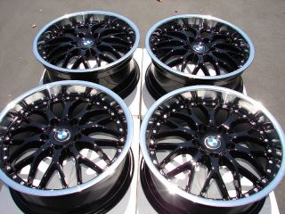 18 5x120 Rims Black BMW Acura 135 325 Z3 318 328 330 Polished Lip 5