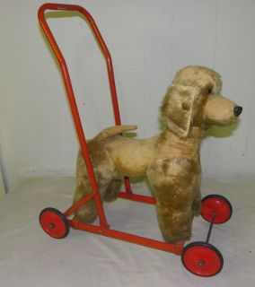 Vintage Old Push Toy Stuffed Dog on Wheels