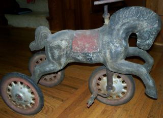 RARE Antique Horse Tricycle Steel Wheels Hard Rubber Tires