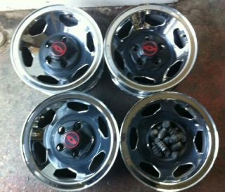 15x7 Chevy 454 Factory Chromed Steel Wheels with Center Caps Lugs