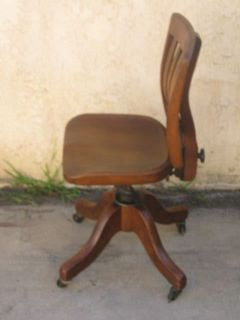 Antique Solid Walnut w/Iron Office Chair with Wheels, A+++ Condition