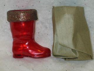 Christmas Rosbro Plastic Santa Boot Candy Container Gold Rim