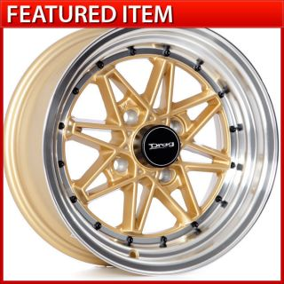 Drag DR 20 15 15x7 4 100 +10 GOLD WHEELS RIMS HONDA CIVIC HELLAFLUSH