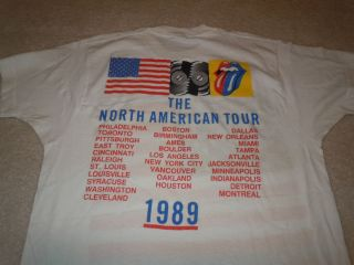STONES Vintage CONCERT SHIRT 1989 N Amer Steel Wheels Tour US Flag