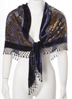 Keke Collection Blue Velvet Beaded Woman Silk Triangle Scarf Wrap