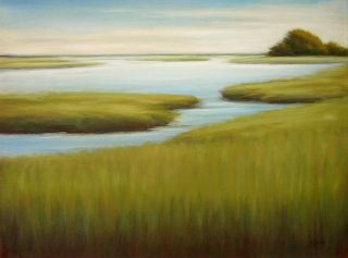 Original Oil Painting Canvas Marsh Coastal Landscape