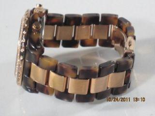 Michael Kors MK 5416 Womens Goldtone Stainless Steel Tortoise Crystal
