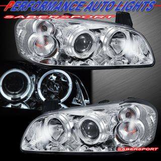 00 01 Nissan Maxima Dual Halo Angel Eyes Projector Headlights Chrome