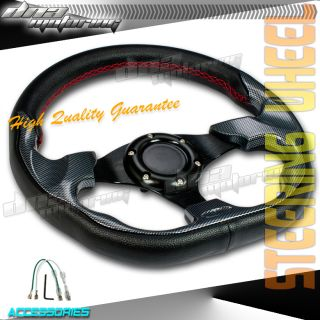 Carbon  Red Stitch PVC Leather 320mm Racing Steering Wheel Race