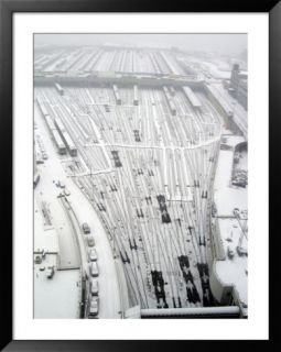 Snow Covers the Railroad Tracks at the Westside Railyard as Snow Falls on New York Pre made Frame