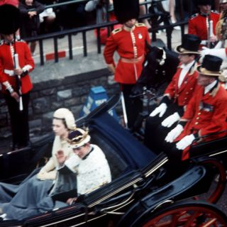 The Queen and Prince of Wales Drive Through Caernarvon After Investiture July 1969 Photographic Print