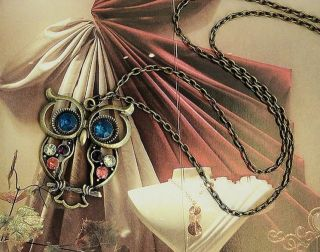 F4367 Vintage Colorful Cute Owl Carved Hollow Necklaces