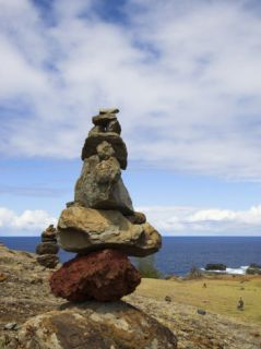 Stone Cairns, Nakalele Point Along Kahekili Highway (Route 30), Pacific Ocean, Maui, Hawaii, USA Photographic Print by GIPhotoStock