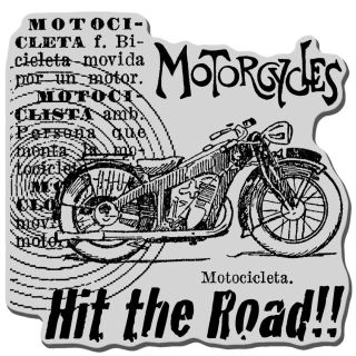 Stampendous Cling Rubber Stamp : Motorcycle Elements