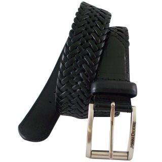 John Deere Leather Braided Belt, Black, Mens