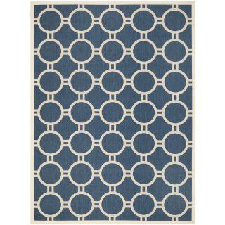 Safavieh Circle patterned Indoor/outdoor Courtyard Navy/beige Rug (8 X 11)