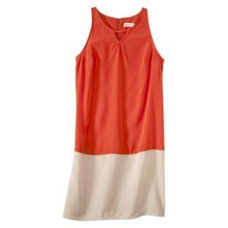 Merona Womens Colorblock Hem Shift Dress   Hot Orange/Hampton Beige   16