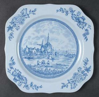 Johnson Brothers Tulip Time Blue (Blue Background) Square Salad Plate, Fine Chin