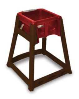 CSL Foodservice & Hospitality High Chair Infant Seat w/ Red Seat, Dark Brown Frame
