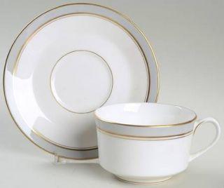 Royal Worcester Howard Gray (Gold Trim) Flat Cup & Saucer Set, Fine China Dinner