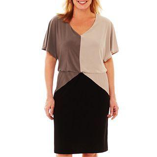 V Neck Colorblock Dress   Plus 2240165, Tpe/bge/bk