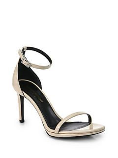 Saint Laurent Jane Patent Leather Ankle Strap Sandals   Nude