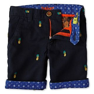 Baker by Ted Baker Pineapple Pattern Twill Shorts   Boys 2 6, Rich Navy, Boys