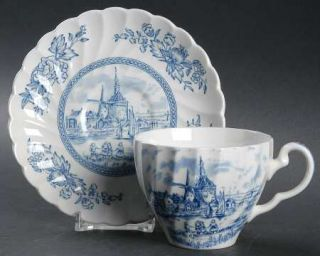 Johnson Brothers Tulip Time Blue (White Background) Flat Cup & Saucer Set, Fine