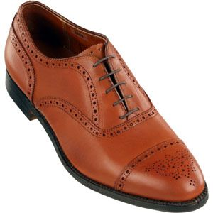 Alden Mens Medallion Tip Bal Calfskin Tan Shoes   911