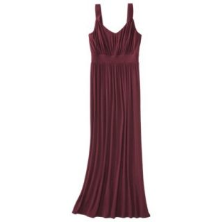 Merona Womens Knit V Neck Ruched Waist Maxi Dress   Berry Cobbler   XL