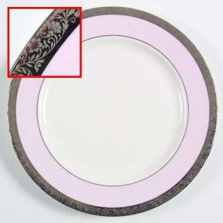Mary Kay Mak4 Dinner Plate, Fine China Dinnerware   Pink Band,Platinum Encrusted