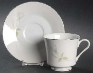 Executive House Cindy Footed Cup & Saucer Set, Fine China Dinnerware   White/Gra