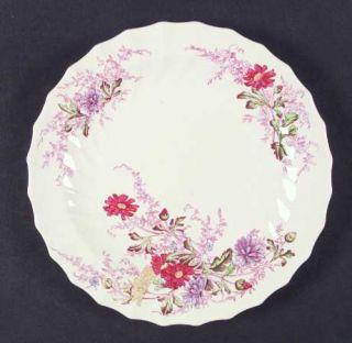 Spode Fairy Dell (Swirled) Luncheon Plate, Fine China Dinnerware   Multicolor Fl